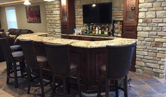 Ballwin Basement with Bar and Fireplace