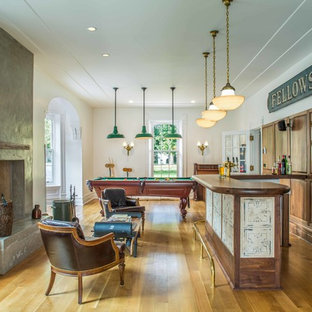 Seated home bar - large traditional galley medium tone wood floor and brown floor seated home bar idea in Toronto with wood countertops, medium tone wood cabinets, brown backsplash and brown countertops