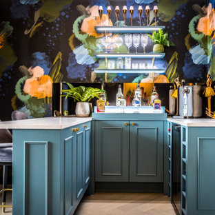 This is an example of a small bohemian home bar in London.