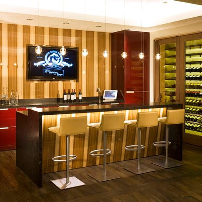 Example of a trendy galley dark wood floor seated home bar design in Denver with flat-panel cabinets and red cabinets