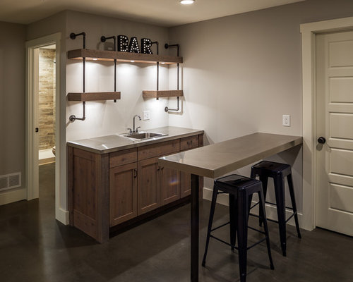 Inspiration For A Mid Sized Farmhouse Single Wall Concrete Floor And Gray Wet