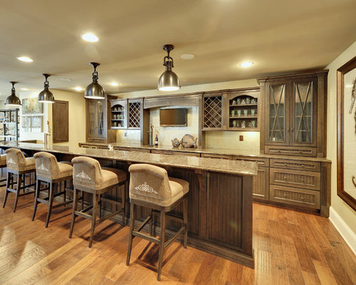Example Of A Large Trendy Galley Medium Tone Wood Floor And Brown Floor  Seated Home Bar