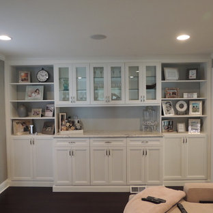 Small traditional single-wall bar cart in Philadelphia with shaker cabinets, white cabinets and marble worktops.