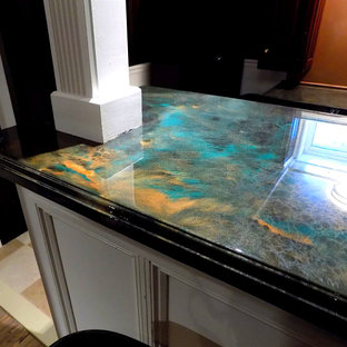 75 Beautiful Ceramic Tile Home Bar With Green Countertops Pictures Ideas March 2021 Houzz