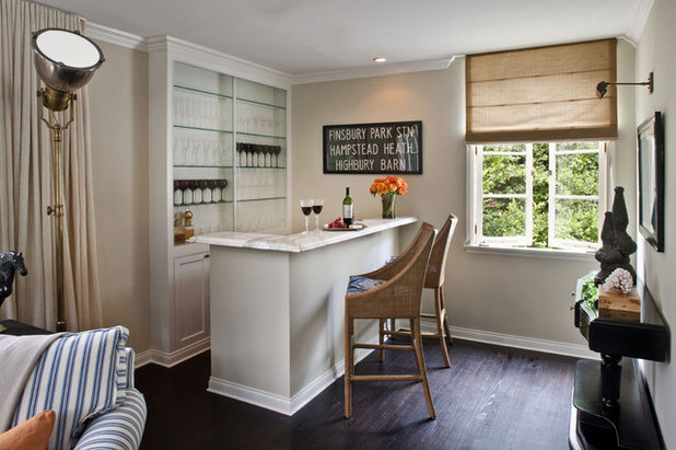Transitional Home Bar by Jeneration Interiors