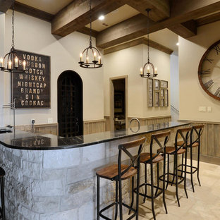 Seated home bar - rustic l-shaped seated home bar idea in Austin