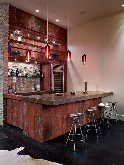 Example Of A Large Urban Galley Dark Wood Floor And Black Floor Seated Home  Bar Design