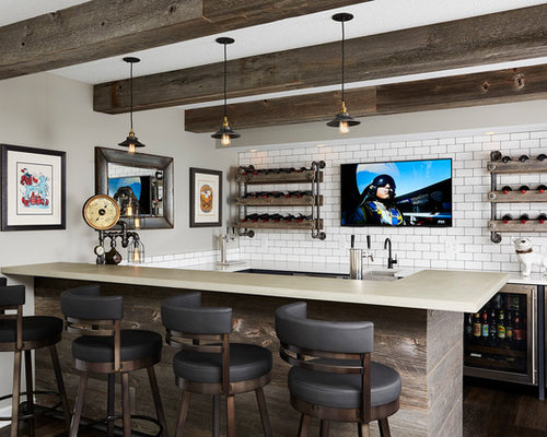 Mid Sized Transitional U Shaped Seated Home Bar Idea In Minneapolis With  Concrete Countertops