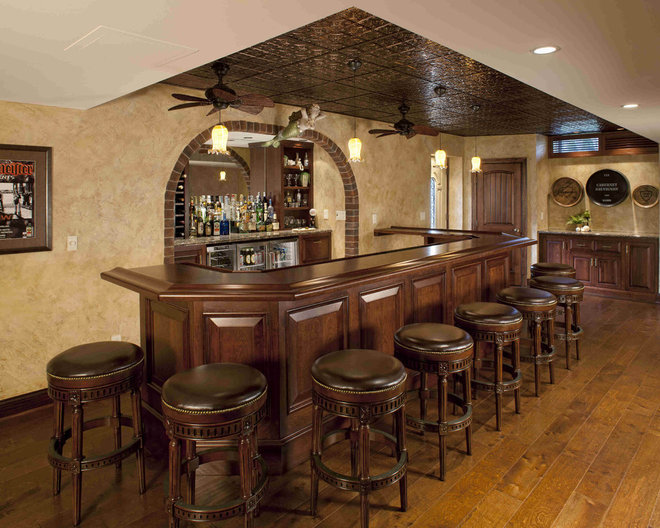 Traditional Home Bar by Media Rooms Inc