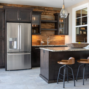 Inspiration For A Rustic Single Wall Gray Floor Wet Bar Remodel In Minneapolis With Shaker