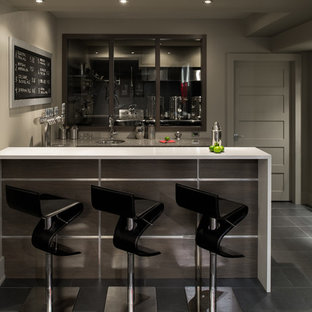 Inspiration for a contemporary gray floor home bar remodel in Ottawa with an undermount sink and white countertops