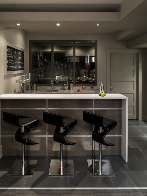 Inspiration For A Contemporary U Shaped Gray Floor Home Bar Remodel In  Ottawa With An