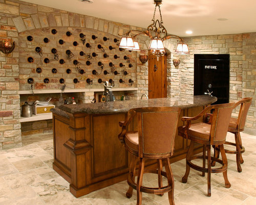 Mid Sized Elegant Galley Seated Home Bar Photo In Chicago With  Recessed Panel Cabinets