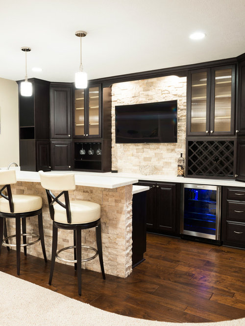 Mid Sized Trendy Galley Seated Home Bar Photo In Indianapolis With Dark Wood Cabinets