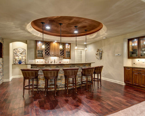 Example Of A Classic Galley Dark Wood Floor And Brown Floor Seated Home Bar  Design In