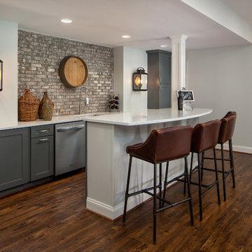 Basement with Charcoal Bar and Zebra Rug