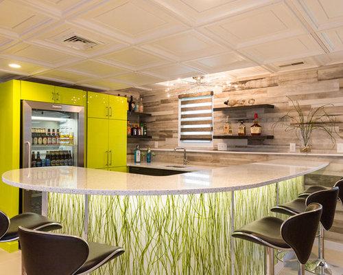 Angolo bar contemporaneo con ante verdi foto idee for Angolo colazione contemporaneo