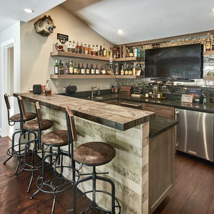 Seated Home Bar   Large Contemporary U Shaped Dark Wood Floor And Brown  Floor Seated