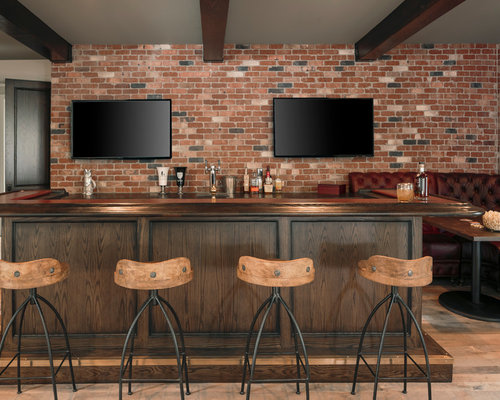 Industrial Home Bar Design Ideas Remodels Photos