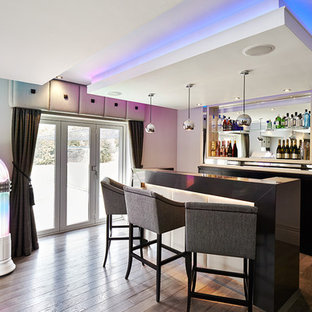 Design ideas for a contemporary u-shaped breakfast bar in Other with open cabinets and dark hardwood flooring.