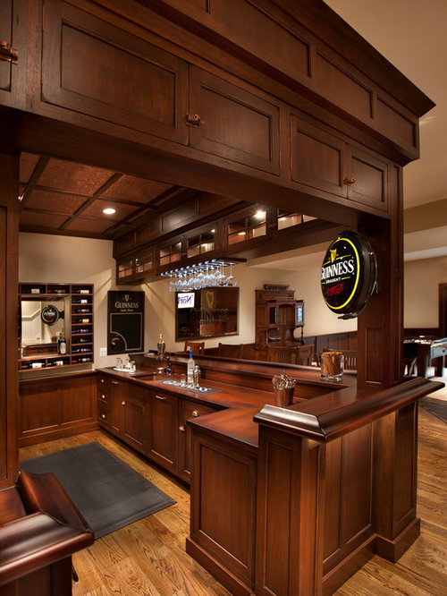 Best Traditional Home Bar With Flat Panel Cabinets Design Ideas Remodel Pictures Houzz