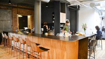 Blackened Industrial Steel Bar Table