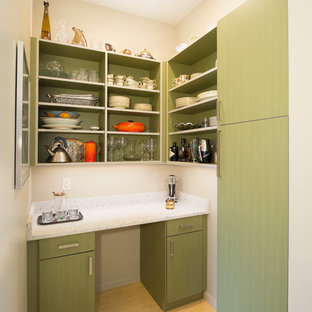 Inspiration for a small modern l-shaped home bar remodel in St Louis with white countertops