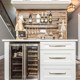 Small Elegant Single Wall Brown Floor And Dark Wood Floor Home Bar Photo In  Chicago