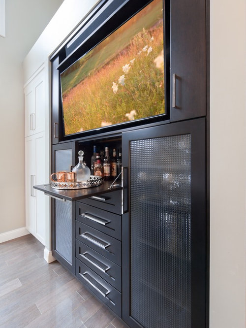 Bar tv houzz for Built in wall bar ideas