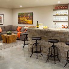Transitional Home Bar by Seek Interior Design