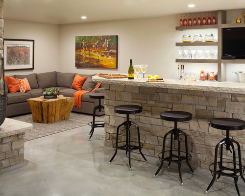 Transitional Seated Home Bar Photo In Denver