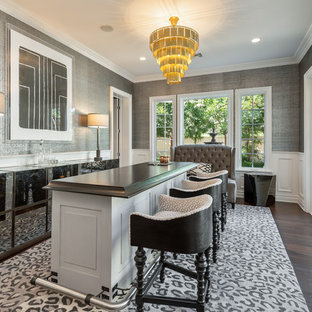 This is an example of a large modern galley breakfast bar in San Diego with freestanding cabinets, grey cabinets, marble worktops, dark hardwood flooring, brown floors and brown worktops.