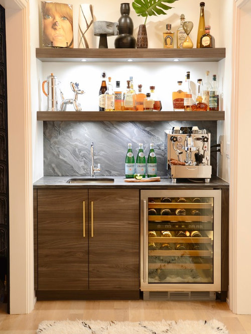 bars designs for home. Example of a mid sized trendy single wall light wood floor and beige Best 100 Contemporary Home Bar Ideas  Remodeling Photos Houzz