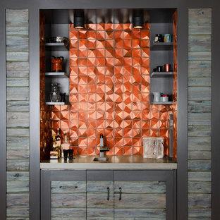 デンバーの小さいコンテンポラリースタイルのおしゃれなウェット バー (I型、グレーのキャビネット、オレンジのキッチンパネル) の写真