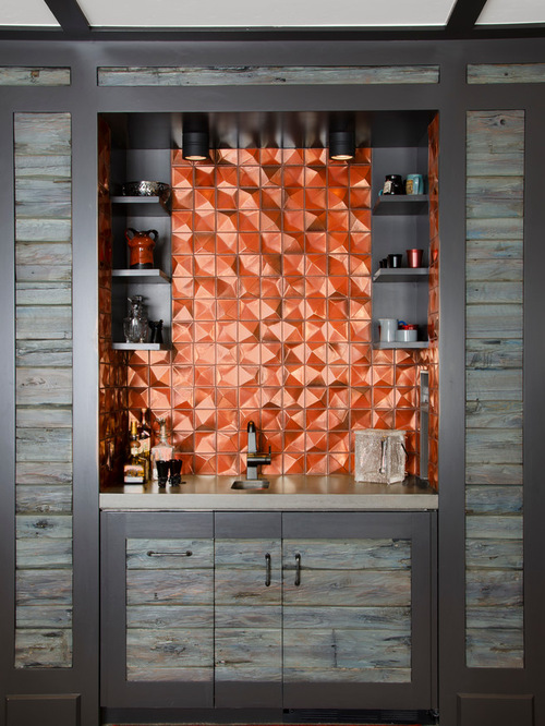 best single-wall home bar with orange backsplash design ideas