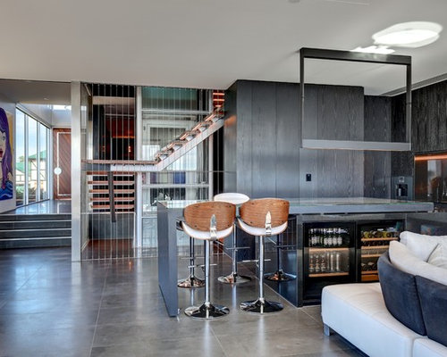 Photo Of A Contemporary Wet Bar In Adelaide With Flat Panel Cabinets, Black  Cabinets