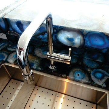 Caesarstone's Concetto Collection Blue Agate backlit with SLABlite