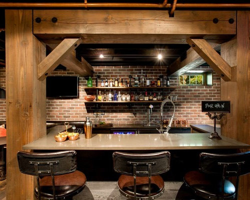 Black home bar with brick backsplash ideas design photos houzz Home bar furniture seattle