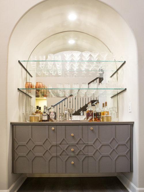bar de salon contemporain avec un placard en trompe l 39 oeil photos et id es d co de bars de salon. Black Bedroom Furniture Sets. Home Design Ideas