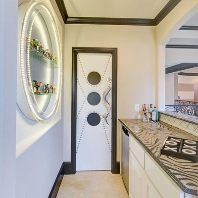 Example of a trendy single-wall home bar design in Dallas with raised-panel cabinets and white cabinets