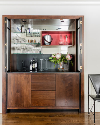 Transitional Home Bar by Annie Hall Interiors