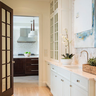 Photo of a medium sized traditional single-wall wet bar in DC Metro with a submerged sink, recessed-panel cabinets, white cabinets, marble worktops, beige splashback, mosaic tiled splashback and light hardwood flooring.