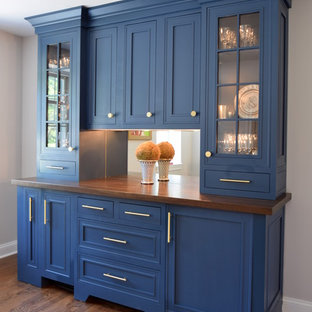 Classic Modern Kitchen with Blue Bar