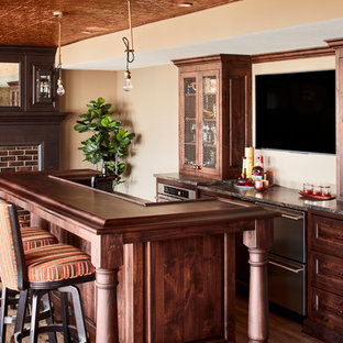 Example Of A Coastal Medium Tone Wood Floor Seated Home Bar Design In  Milwaukee With Dark