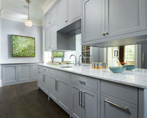 Gray cabinets houzz for Gray kitchen cabinets with black counter