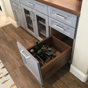 Compact Home Bar Features Walnut Top and Liquor Storage Drawers