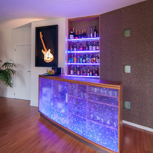Design ideas for a contemporary home bar in Other.