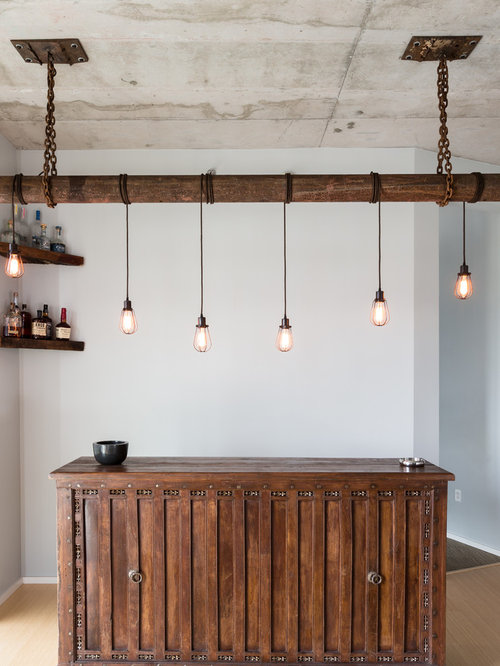 industrial single-wall home bar design ideas, remodels & photos