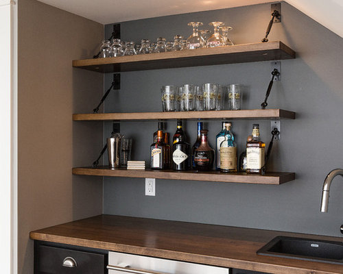 Example Of A Large Arts And Crafts Single Wall Wet Bar Design In Other With