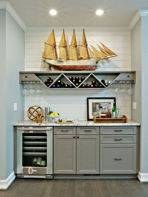 Beach style home bar design ideas renovations photos with shaker cabinets - Home bar styles ...